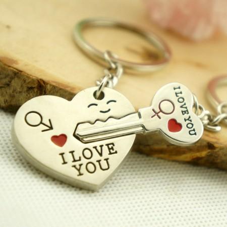 Szív Szíves Szerelmes Kulcs Kulcstartó 2db-os Szett Pároknak