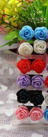 12db 6 Pár Rózsa Virág Női Fülbevaló Egyben