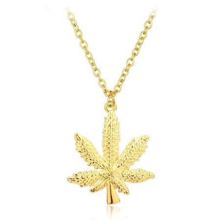 Cannabis Kender Levél Nyaklánc Arany Szín