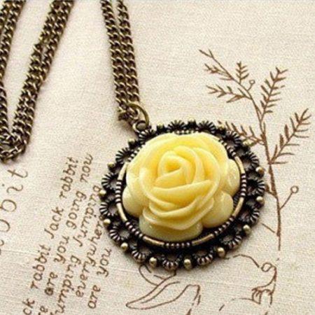 Sárga Virág Rózsa Női Nyaklánc