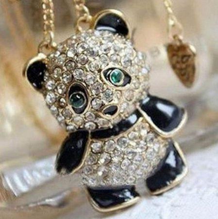 Kristályos Panda Maci Nyaklánc