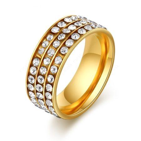 Kristályos Rozsdamentes Acél Női Gyűrű