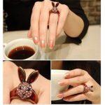 Nyúl Nyuszis Kristályos Női Gyűrű