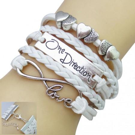 One Direction Ötsoros Bőr Szív Love Fehér Karkötő