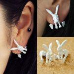 3D Nyuszi Nyúl Nyuszis Női Fülbevaló Fehér Vagy Pink