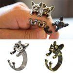 Francia Bulldog Kutya Gyűrű Ezüst Vagy Fekete Szín