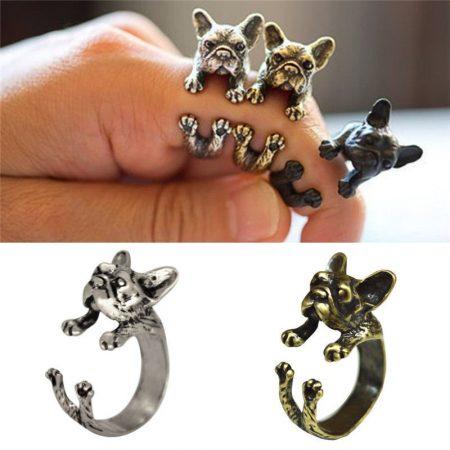 Francia Bulldog Kutya Gyűrű Fekete Szín