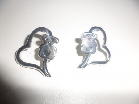 Ezüst Színű Maci Szív Fülbevaló