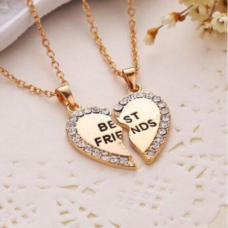 Best Friends Legjobb Barátok Kristályos Szíves Nyaklánc 2db-os Szett Arany Vagy Ezüst