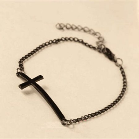 Kereszt Keresztes Fekete Vagy Ezüst Színű Karkötő