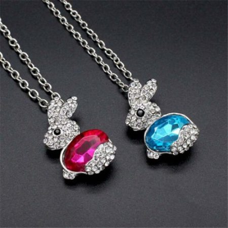 Kristályos Nyúl Nyuszi Női Nyaklánc Kék Vagy Pink
