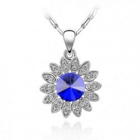Napraforgó Virág Kristályos Nyaklánc Kék Szín