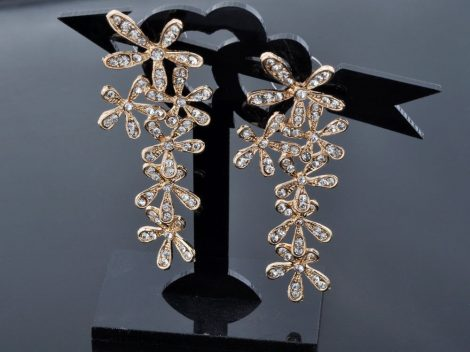 Kristályos Hópehely Virág Női Fülbevaló Arany Vagy Ezüst Szín