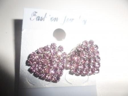 Kristályos Pink Szív Szíves Fülbevaló