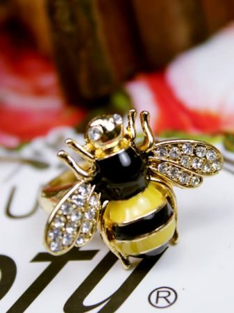 Méhecske Kristályos Állítható Gyűrű