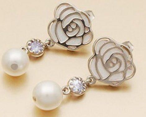 Rózsa Virág Gyöngy Fülbevaló
