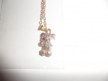 Arany Vagy Ezüst Színű Maci Medve Kristályos Nyaklánc