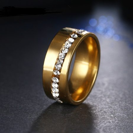Kristályos Rozsdamentes Acél Női Gyűrű 02