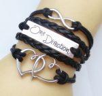 One Direction Ötsoros Bőr Dupla Szív Love Karkötő Fekete Vagy Fehér Szín