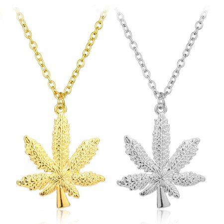 Cannabis Kender Levél Nyaklánc Ezüst Vagy Arany Szín