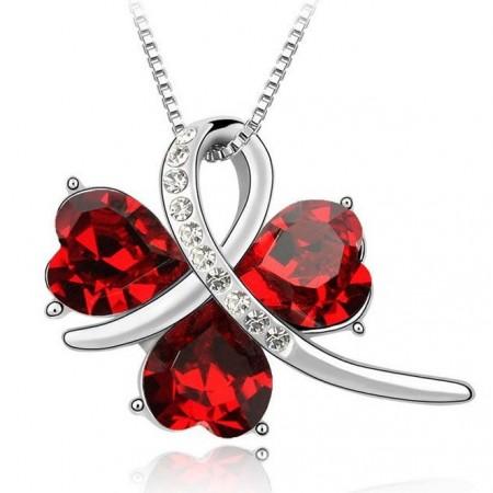Szív Szíves Kristályos Szerencse Piros Vagy Zöld Nyaklánc