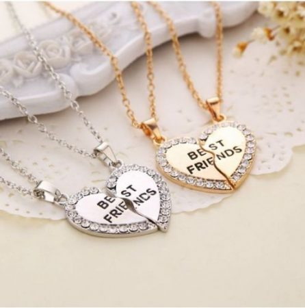 Best Friends Legjobb Barátok Kristályos Szíves Nyaklánc 2db-os Szett Ezüst Vagy Arany