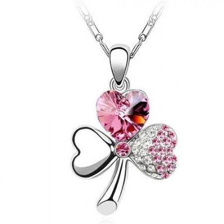 Szív Szíves Lóhere Szerencse Pink Kristályos Nyaklánc 3 Szín