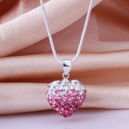 Pink Kristályos Szív Szíves Nyaklánc