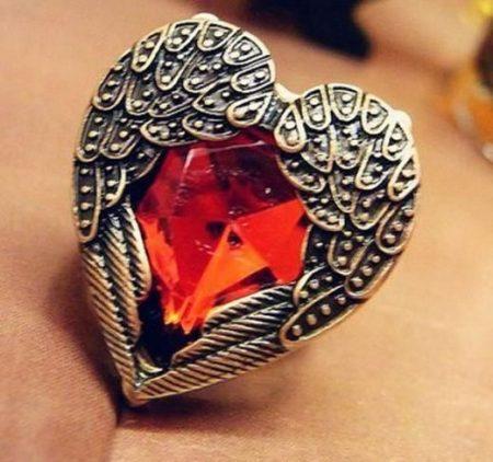 Szíves Piros Gyűrű