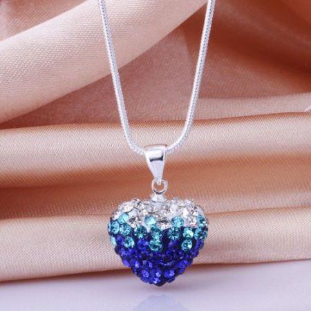 Kék Kristályos Szív Szíves Nyaklánc