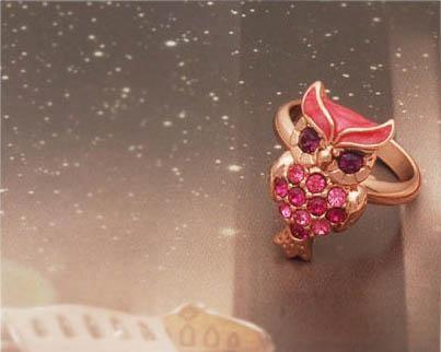 Bagoly Baglyos Pink Állítható Gyűrű