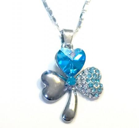 Szív Szíves Lóhere Szerencse Kék Kristályos Nyaklánc 3 Szín