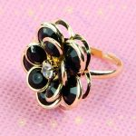 Fekete Virág Rózsa Női Gyűrű