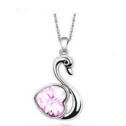 Hattyú Szív Szíves Rózsaszín Nyaklánc