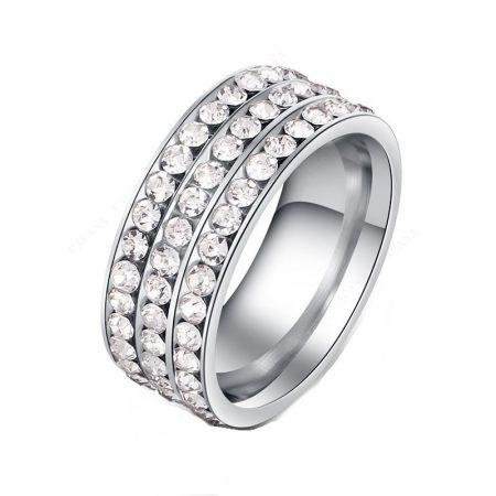 Kristályos Rozsdamentes Acél Női Gyűrű Ezüst 03