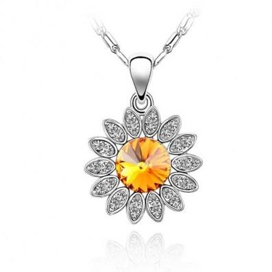 Napraforgó Virág Kristályos Nyaklánc Narancs Vagy Kék Szín
