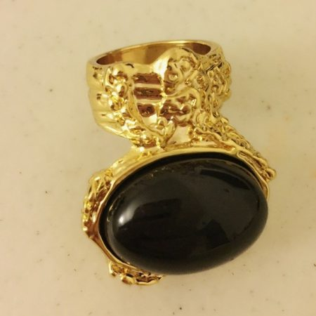 Fekete Köves Divatos Női Gyűrű