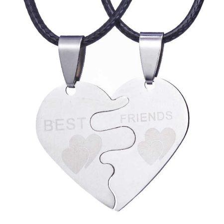 Legjobb Barátok Best Friends Szíves Rozsdamentes Acél Nyaklánc Szett