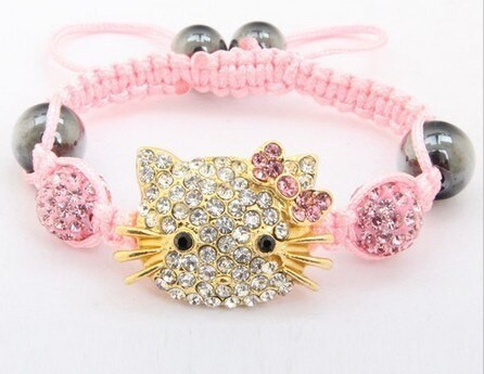 Hello Kitty Cica Swarovski Kristályos Shamballa Karkötő