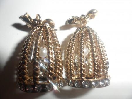 Bronz Vagy Ezüst Színű Kristályos Harang Gyöngy Fülbevaló