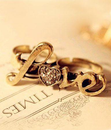 Dupla Újjas Love Szív Gyűrű