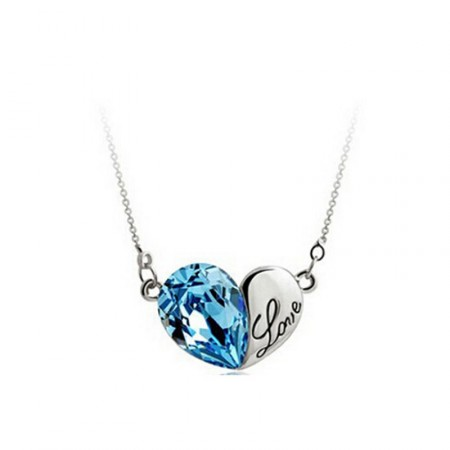 Kék Szív Szíves Love Nyaklánc