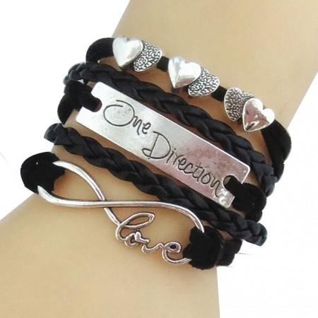 One Direction Ötsoros Bőr Szív Love Fekete Karkötő