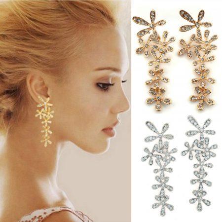 Kristályos Hópehely Virág Női Fülbevaló Ezüst Vagy Arany Szín