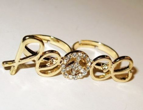 Peace Béke Kristályos Dupla Ujjas Női Gyűrű