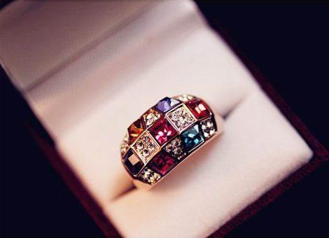 Kristályos Színes Női Gyűrű